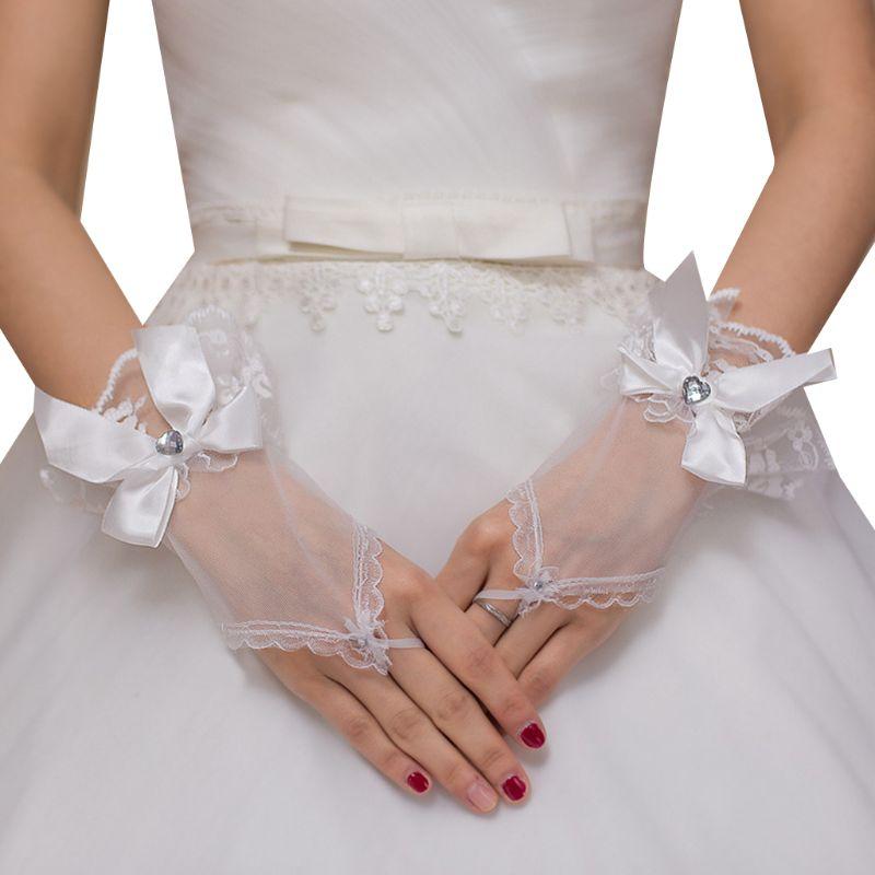 Wedding Short Fingerless Gloves Bowknot Heart Rhinestone Ruffles Lace Mittens E15E