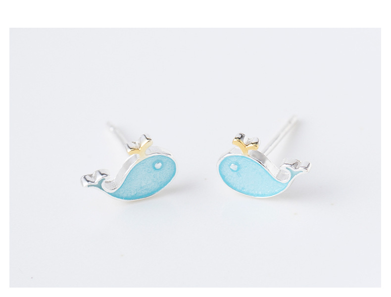 H00bc5f6bdcad4837a19a2a81c7e14d38X - Stud Earrings for Women with 925 Sterling Silver Earrings Dolphin Light Blue Jewelry Accessories Wholesale
