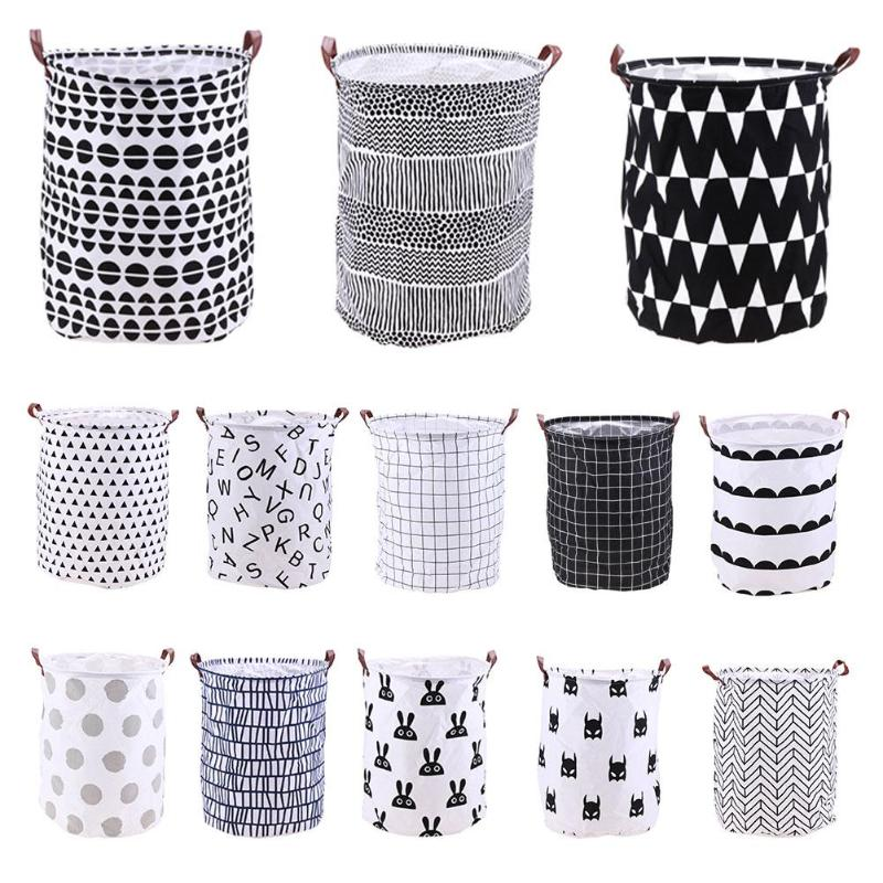 Folding Laundry Basket Cartoon Storage Barrel Standing Toys Clothing Bucket Holder Pouch Household