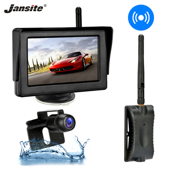 цена на Jansite 4.3 Inches Wireless Car LCD Monitor Parking Monitor Rear View Camera Backup Camera Kit Assistant for Truck Pickup RV 12V
