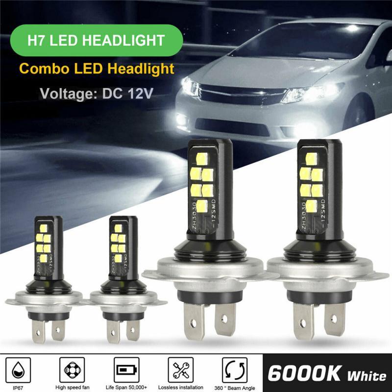 Carro h7 h4 combo led farol kit lâmpadas alta baixa feixe 60w 52000lm 6000k farol do carro lâmpadas acessórios da lâmpada