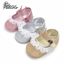 2019 Brand New Newborn Infant Baby Girl Princess Lace Crown Shoes Sequined Cotton Soft Sole Crib Prewalker Shoes First Walkers