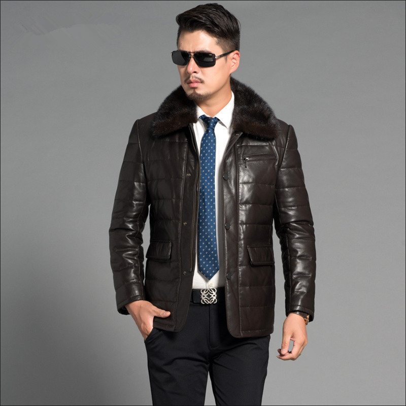 Genunie Luxury Leather Jackets Parka Mink Fur Collar Real Sheepskin Leather Jacket Men Clothing Plus Size 4XL FYY583