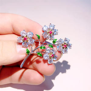 Crystal Flower Broach Cubic-Zirconia Brooch-Pins Jewelry-Accessories Gifts Enamel-Pins
