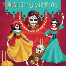 Yeele Day of The Dead Dia DE Muertos Mexico Backdrop Dress-up Party Sugar Skull Photography Background Fiesta Banner Decoration