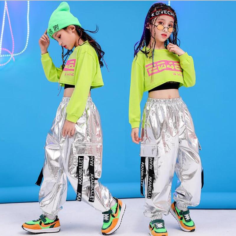 Children Hip Hop Clothing Green Sweatshirt Top Crop Casual Pants Girl Kids Jazz Dance Wear Costume Ballroom Dancing Clothes