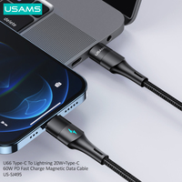 USAMS Type C To Lightning 20W/60W Type C Magnetic PD Fast Charging Cable USB Type C Cable For iPhone Huawei Suamsung Xiaomi