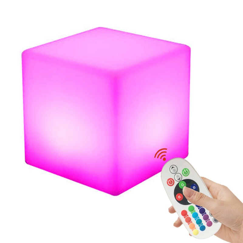 Junejour 10cm <font><b>Cube</b></font> <font><b>Led</b></font> Night Light 16 Adjustable RGB 4 Colour Changing Modes with Remote Control Bedside Lamp image
