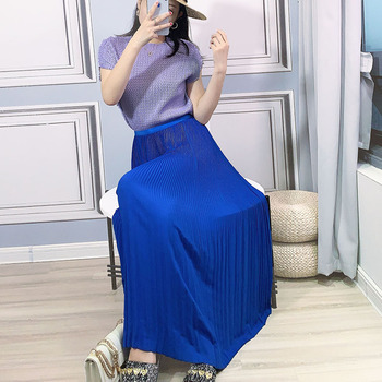 Pleated Skirt Summer Women's 2020 NEW Solid Colour Elastic Loose Miyake Pleated Large Size High Waist Chiffon Skirts Female box pleated chiffon skirt