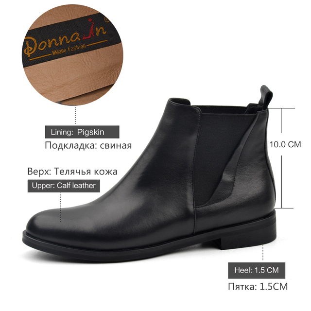 Donna in Chelsea Boots Women Genuine Leather Round Toe Classic Ankle Booties Flat Heel Spring Design
