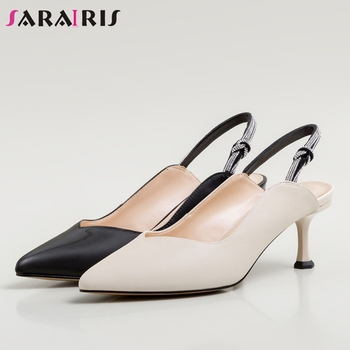 SARAIRIS Fashion Office Female Pointed Toe Sexy Dress Thin Heel Sandals 2020 Casual Solid Sandals Women Spring Shoes Woman