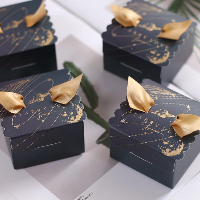 10Pcs/lot  European Small Fresh Wedding Supplies Square Candy Gift Box Christmas   Candy Box   Christmas Gift Box With Handles
