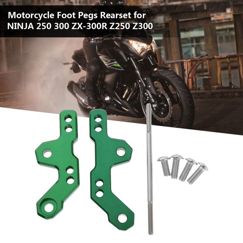 Motorcycle CNC Aluminum Alloy Foot Pegs Rearset Green Universal For Kawasaki NINJA 250 300 ZX-300R Z250 Z300