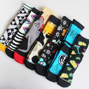 Image 1 - Autmn Winter Socks Cotton Colorful Multiple Abstract Cartoon Patterns Sweat Absorbing Deodorant Breathable Socks Unisex 2019