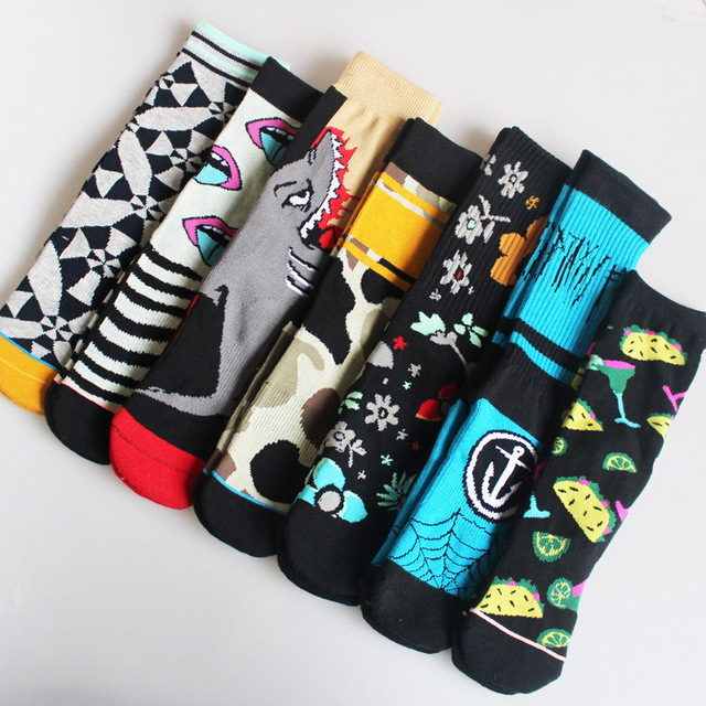 Autmn Winter Socks Cotton Colorful Multiple Abstract Cartoon Patterns Sweat Absorbing Deodorant Breathable Socks Unisex 2019