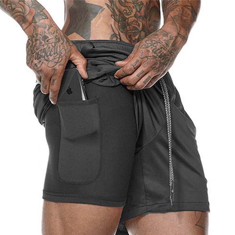 Summer Men's 2 in 1 Joggers Shorts Security Pockets Double Layer Shorts With Pocket Fitness Shorts Solid Camo Workout Shorts