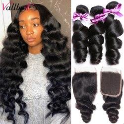 Vallbest Loose Wave Bundles With Closure Human Hair 3 Bundles With Lace Closure Brazilian Hair Weave Bundles Remy Hair Extension