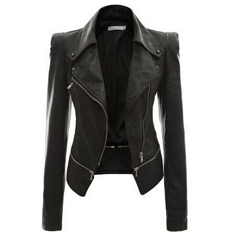 2019 Autumn Women Faux   Leather   Jacket Gothic Black Goth motorcycle jacket Zippers Long sleeve Female PU Faux   Leather   Jackets