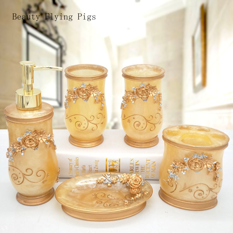 Direct sales new court court light luxury bathroom storage decorative supplies resin creative romantic flowers wedding products