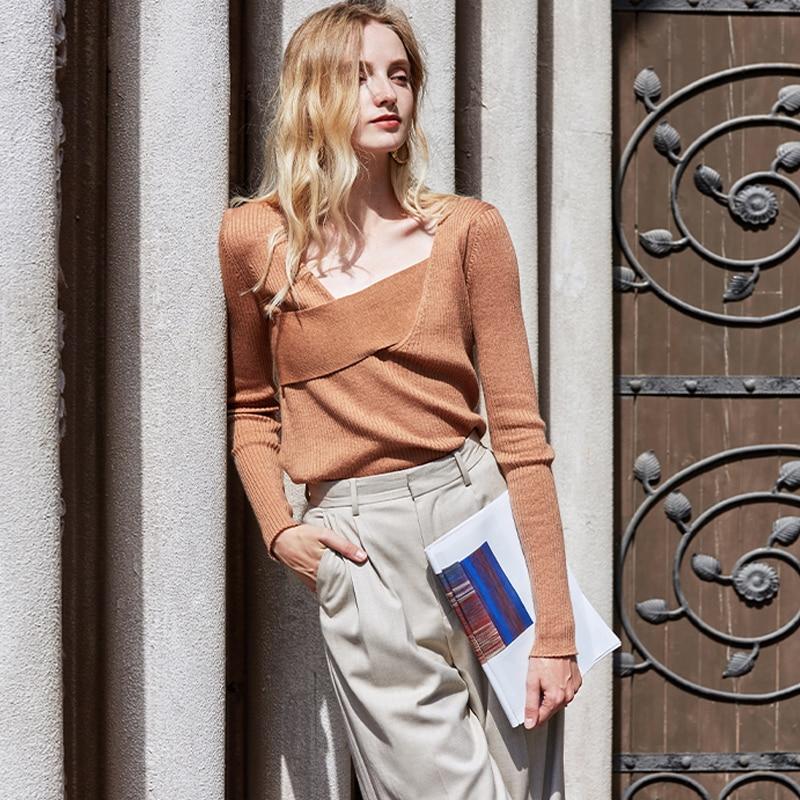 AEL Fashion Wool Blends Sweater Women Spring Casual Cross Knitted Pullover Female Elegant Slim Long Sleeve Sweater Streetwear