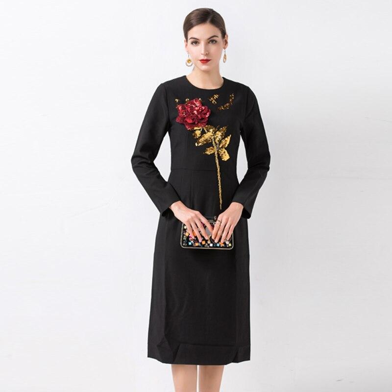 موجز النساء فساتين الصيف 2019 الأزياء إلكتروني والزهور مطرزة كم طويل ابيض/أسود الطازجة منتصف العجل سليم اللباس-في فساتين من ملابس نسائية على  مجموعة 1
