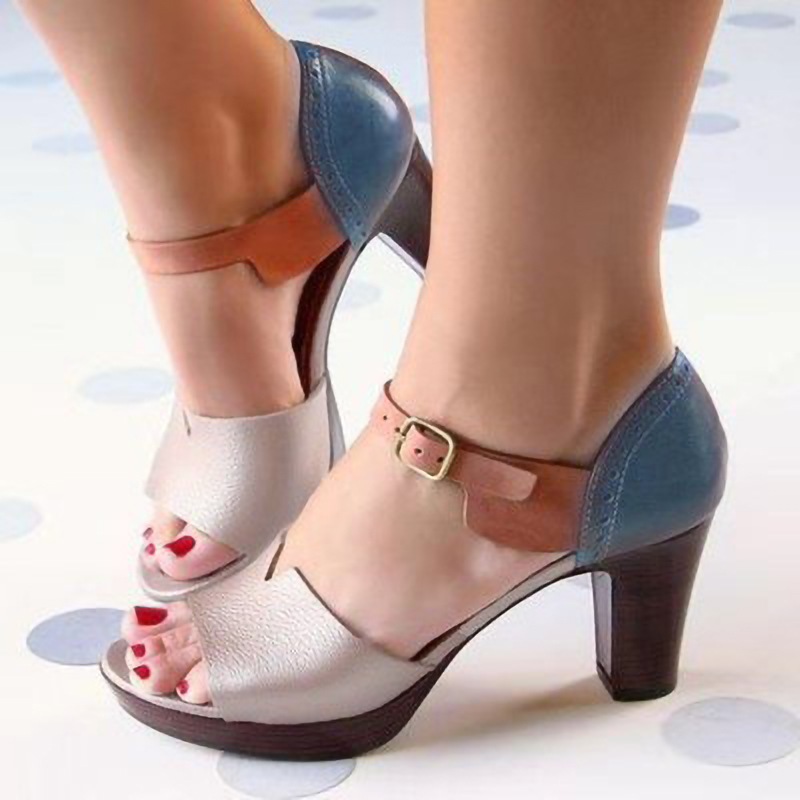 Chunky Heel Women Sandals Summer Women Shoes Ankle Strap Elegant Ladies Shoes High Heel Leather Female Sandals Pumps