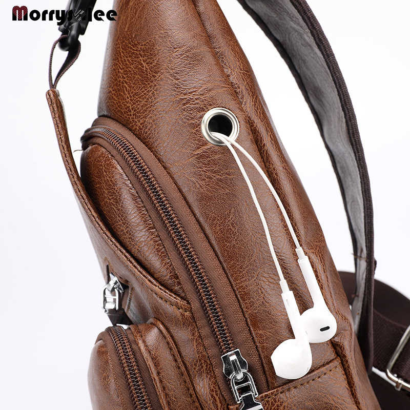 Male Shoulder Bags USB Charging Crossbody Bags Men Leather Chest Bag School Summer Short Trip Messengers Bag 2018 New Arrival