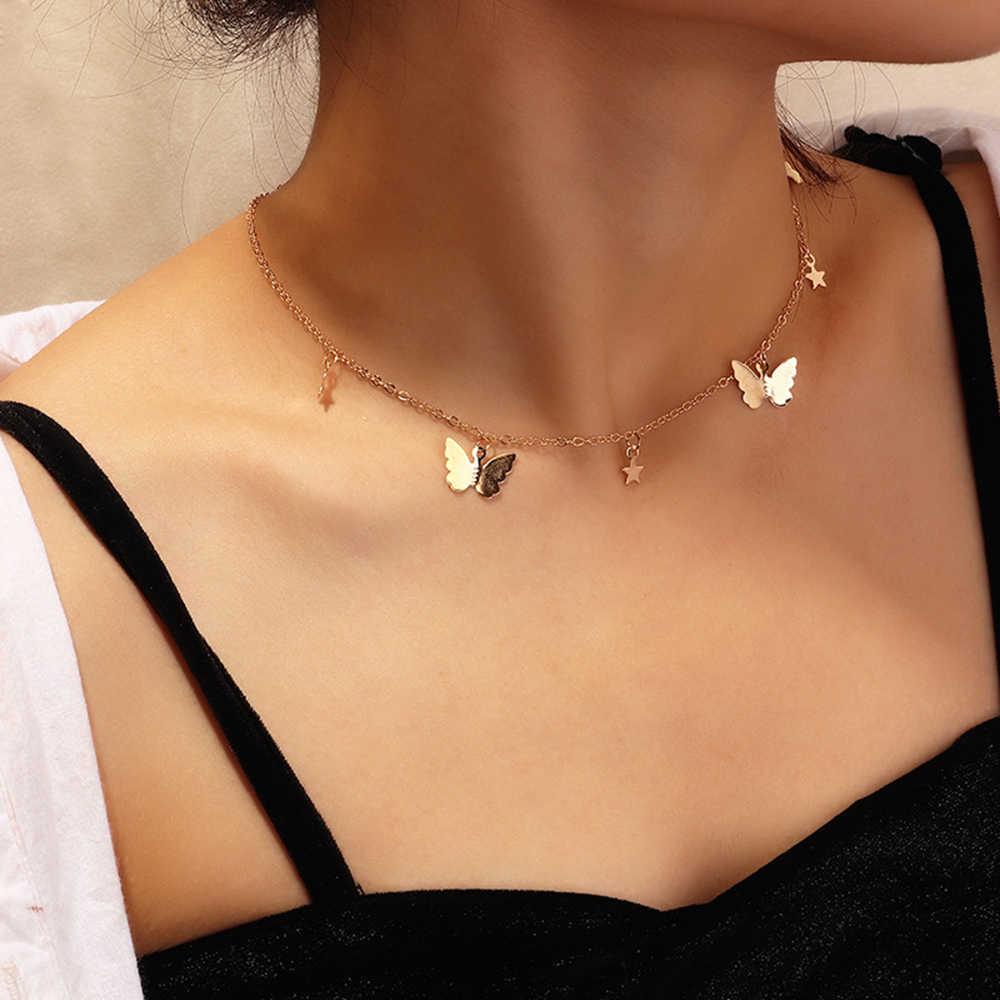 バタフライチョーカーネックレス女性のための mujer ボヘミアンかわいいゴールドシルバー色の鎖骨チェーン 2020 ファッション女性チョーカージュエリー