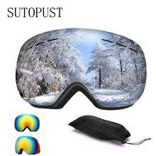 все цены на Ski Goggles Double Layers Anti Fogging UV Anti-fog Big Ski Mask Glasses Skiing Snowboard Ski Eyewear Men Women Snow Winter Sport онлайн