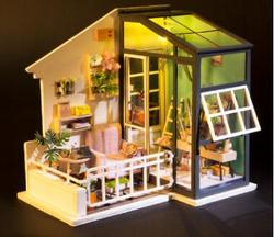 2018 NEW DIY Wooden Hut AssembleToy Lodge Art House Creative Valentines Day Gift Manual Assembly Model House Chrismas Gift