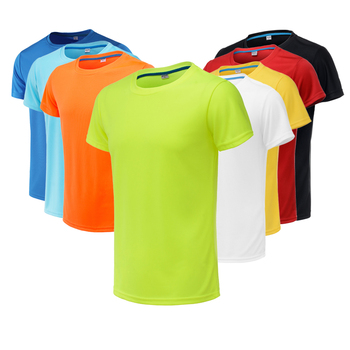 Men Running T Shirt Quick Dry Fitness T Shirt Training Clothes Gym Soccer Jersey Solid Sports Shirts Muscle Tops Tees Running T-Shirts
