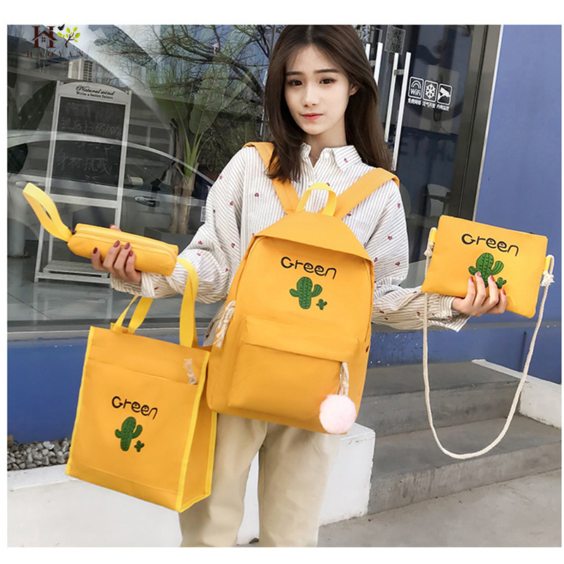 4Pcs / Set Canvas Lady Backpack Cute Teenage Girl School Bag Suitable For Outdoor Travel Bag Fashion Small Bag