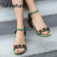 Retro Sandals Women Shoes Johnature Strap Buckle Flower Genuine-Leather Casual Summer