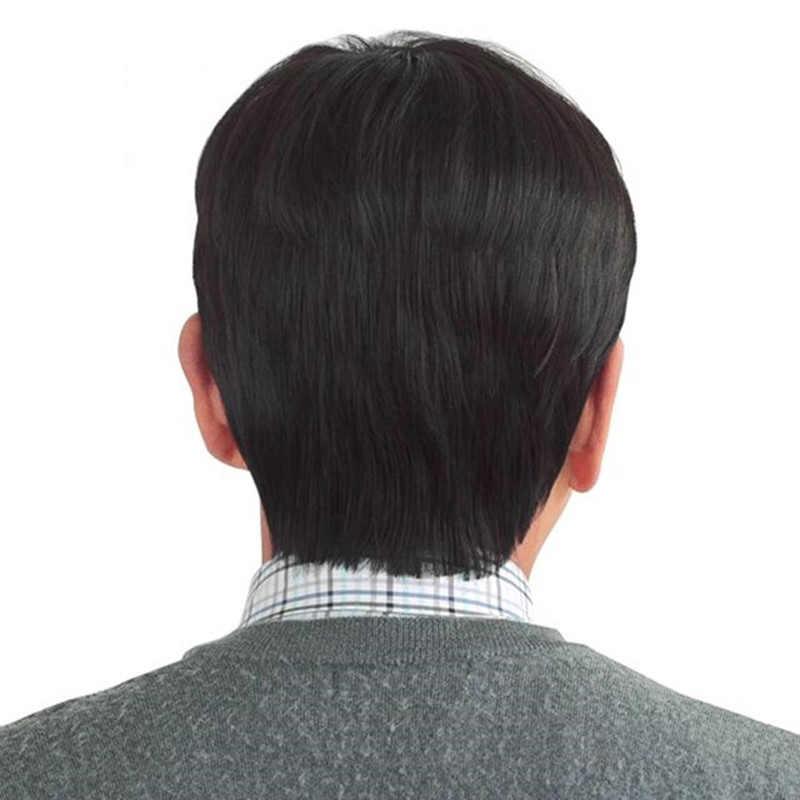 DIFEI ارتفاع درجة الحرارة شعر مستعار اصطناعي قصير مستقيم الشعر الأسود براون المنسوجة يدويا الباروكات للرجال في منتصف العمر ارتداء اليومي إبقاء الشباب