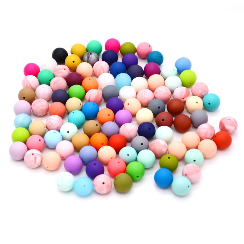 50Pcs Round Silicone Teething Beads 15Mm Baby Teether Bead Food Silicone Balls Toys For Girls Diy Teeth Nursing Necklace