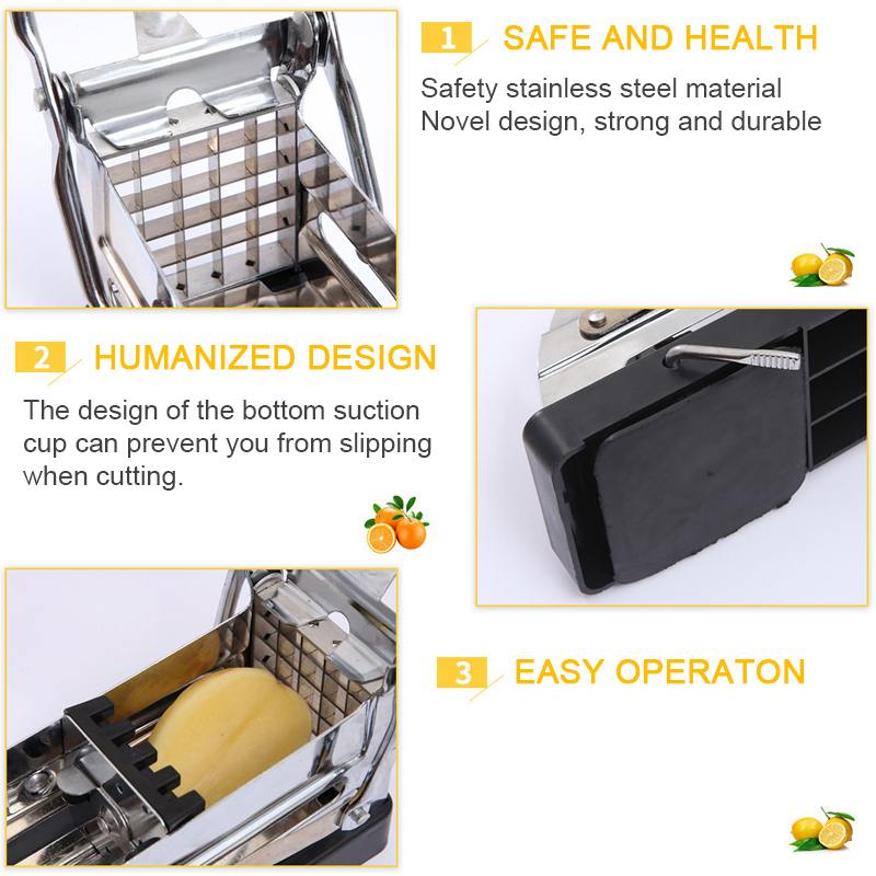 New Stainless Steel Potato Cutting Machine Non slip French Fries Cutter Home Use Potato Slicer Chopper