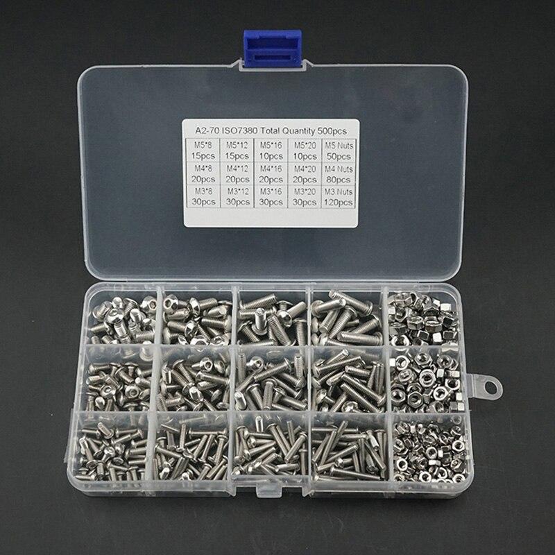 480Pcs M2 M3 M4 Screws Set With Storage Box Stainless Steel Hex Socket Head Cap Screw Nut Kit MJJ88 in Nut Bolt Sets from Home Improvement