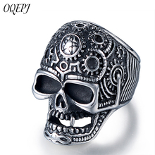 OQEPJ Neo-Gothic Skull Rings 316L Stainless Steel High Quality Silver Color Men jewelry Prevent Allergy Ring Personalized Gift недорого
