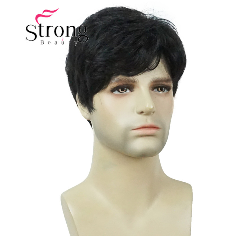 StrongBeauty Men's Short Black Natural Synthetic Full Wig For Men