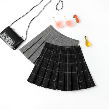 2020 Women's Spring and Autumn New Woolen Pleated Skirt Plaid High Waist Skirt Academic A- line plaid skirt short skirt 2020 new mosaic chiffon pleated skirt contrasting color academic pleated skirt short skirt goth fashion a line above knee