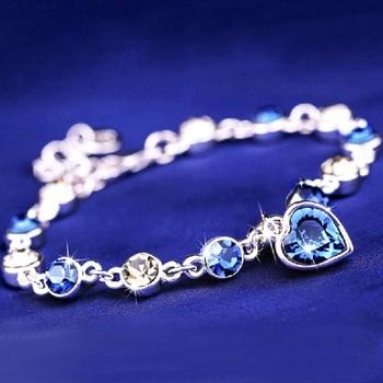Austrian Crystal Bracelet For Woman Korean Pulsera Blue Ocean Heart Pendant Fashion Banquet Jewelry Good Friends Gift Hot 1