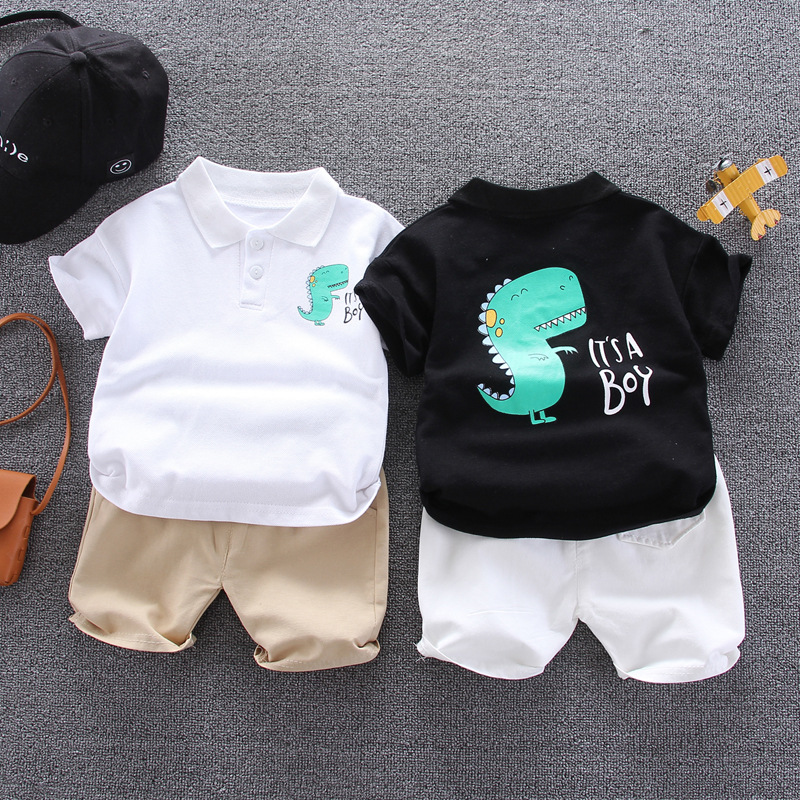 Summer Kids Sets Boys Fashion Cotton Sets Toddler Boy Clothes Dinosaur Printed PoLo Tops + Shorts Two-piece Children's Clothing