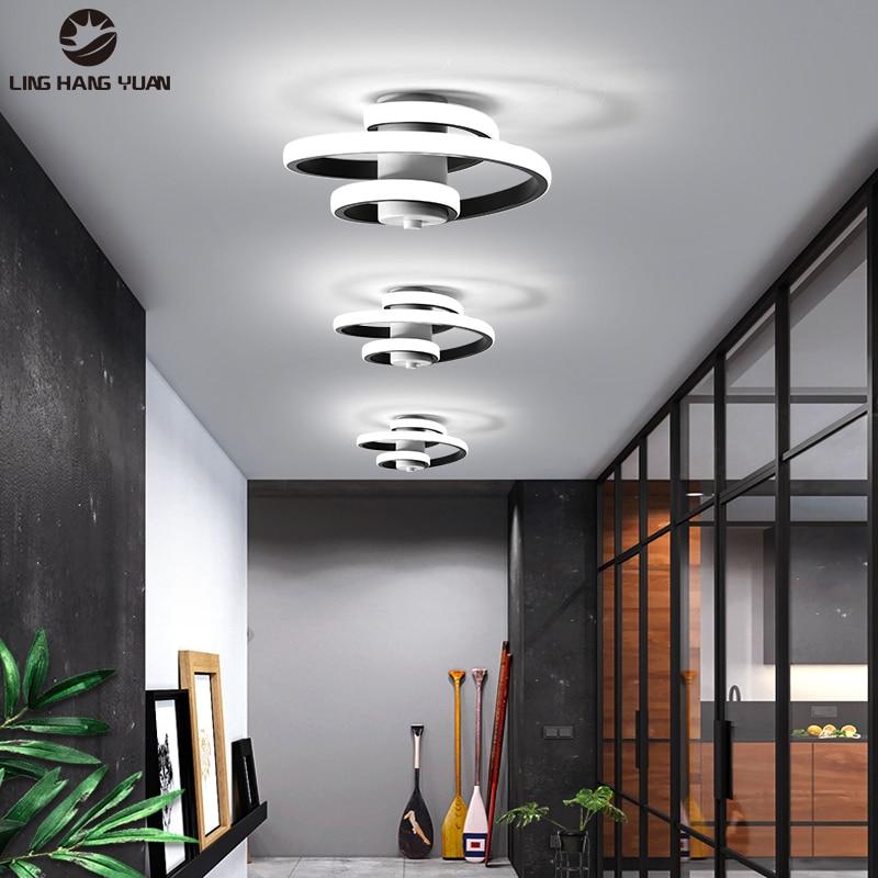 Black frame LED Chandeliers for Living Room Bedroom Aisle Lights AC96-260V Corridor Stairway Lights Indoor Lighting Fixtures 22w