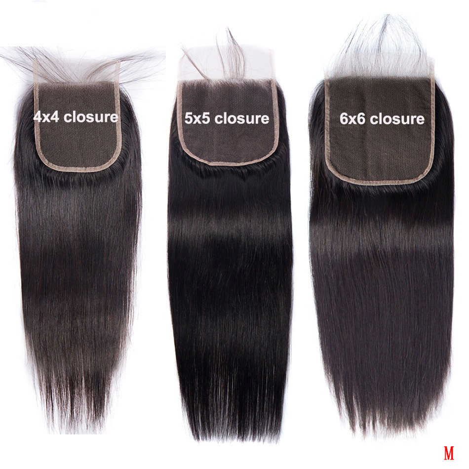 Lace Closure Pre-Plucked 100%Human-Hair 18-20inch 6x6 5x5 4x4 Peruvian 2x6 Straight Only-Remy