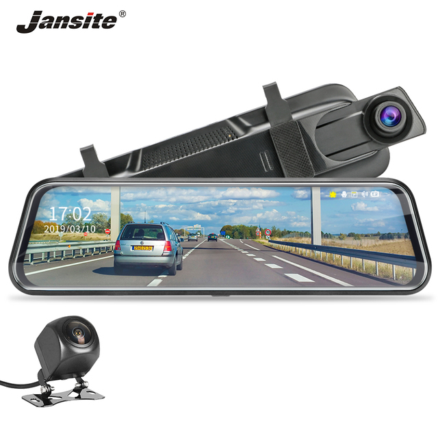 Jansite 10-inch Stream Mirror Car DVR Dual Lens Video Recorders Touch Screen Full HD 1080P Car Cameras Dash Cam Motion Detection