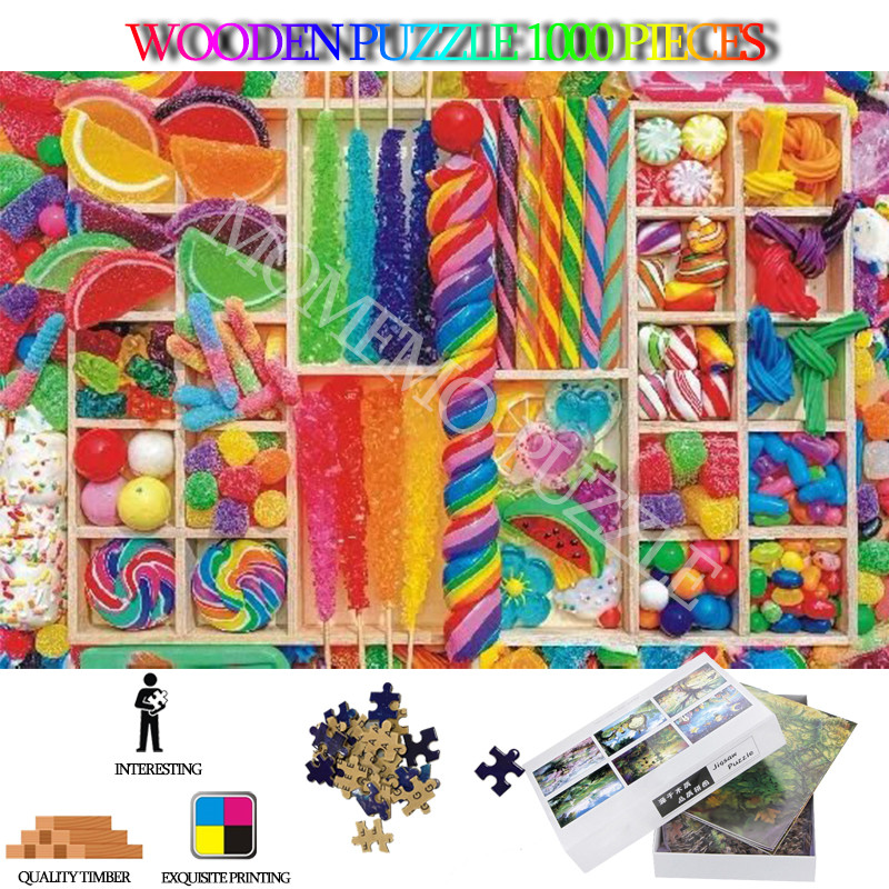 Colorful Sweet Puzzles 1000 Pieces Wooden Jigsaw Puzzle for Adults DIY Assembly Puzzle Toys Kids Educational Puzzles Nice Gifts