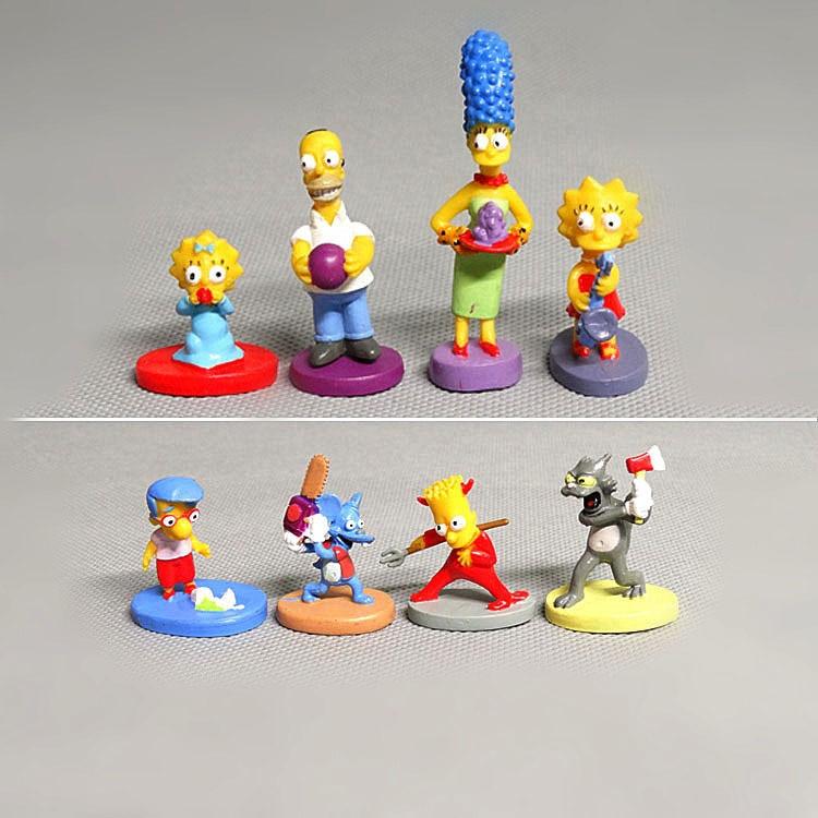 8PCS/Set Movie Simpsons Family Anime Figure Toys Homer J Marge Bart Lisa PVC Model Figurines Dolls Children Toys