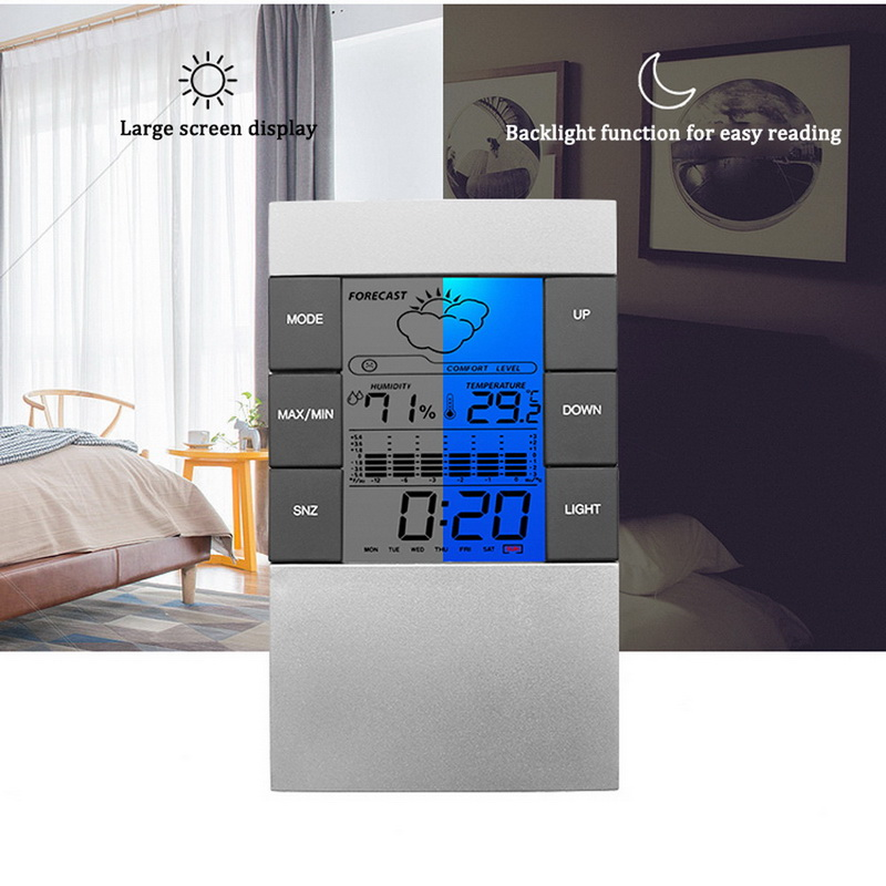 Junejour Thermometer Hygrometer Weather Station Clock Room Temperature and Humidity Monitor Gauge Battery Operated