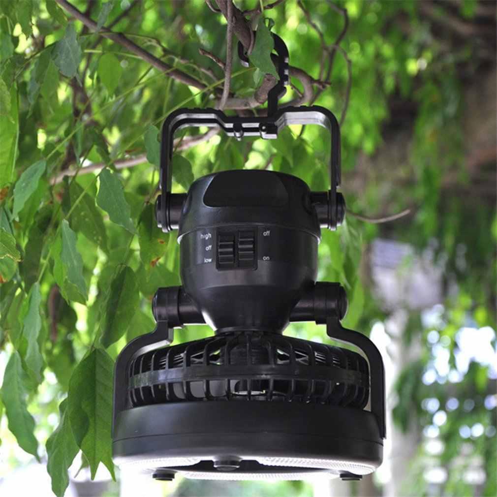 Camping ventilador de techo Luz Portátil linterna colgante 18LED ventilador Camping linterna batería alimentación/USB recargable tienda de campaña lámpara