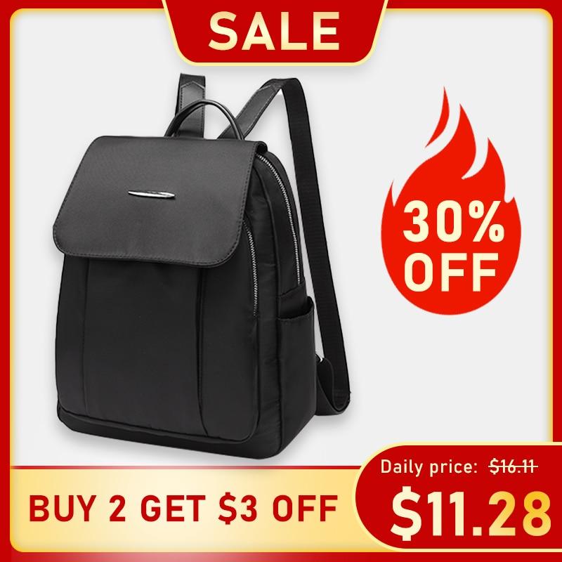 Women Backpack Black Zipper Black Red Casual Side Pocket Rucksack Oxford Cloth Shoulder Bags Waterproof Girl Teenager Back Pack
